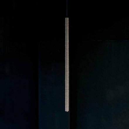 Lampada a Sospensione in Alluminio Rivestita in Corda Made in Italy - Ginia