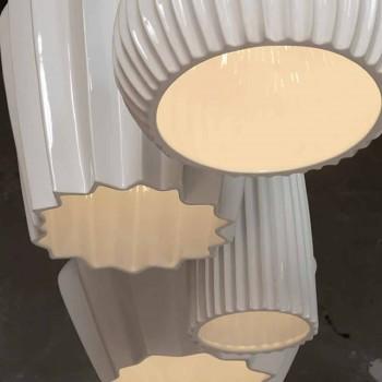 Lampada a Sospensione in Ceramica Bianca Lucida Design in 4 Forme - Oasi
