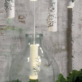 Lampada a Sospensione in Ceramica Bianca Opaca con Fiori di Decoro - Rivoluzione