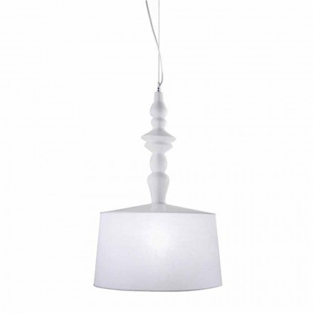 Lampada a Sospensione in Ceramica Bianca Paralume in Lino Corto Design - Cadabra
