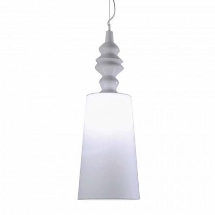 Lampada a Sospensione in Ceramica Bianca Paralume in Lino Lungo Design - Cadabra