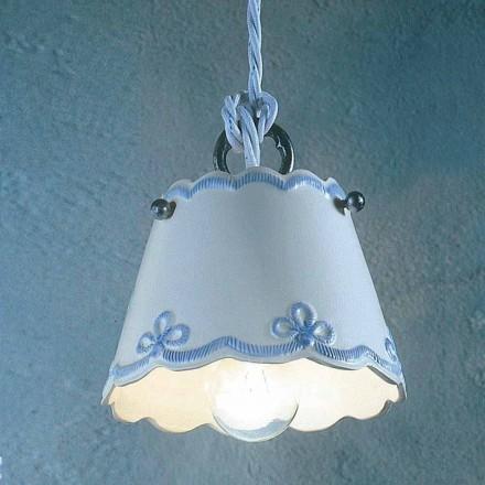 Lampada a sospensione in ceramica con fascia colorata Ferroluce