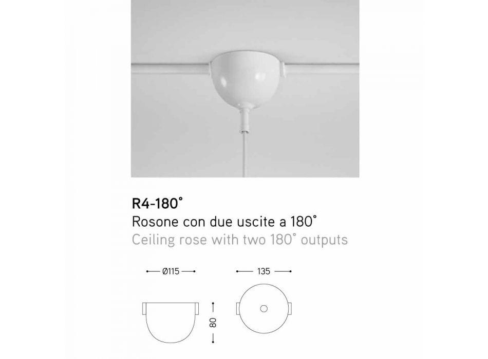Lampada a sospensione in ceramica I Lustri, con rosone a 2 uscite a 180°