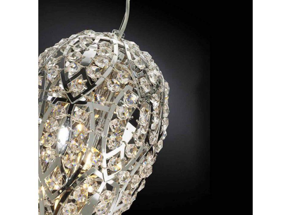 Lampada a sospensione in cristallo e acciaio a forma di uovo Egg