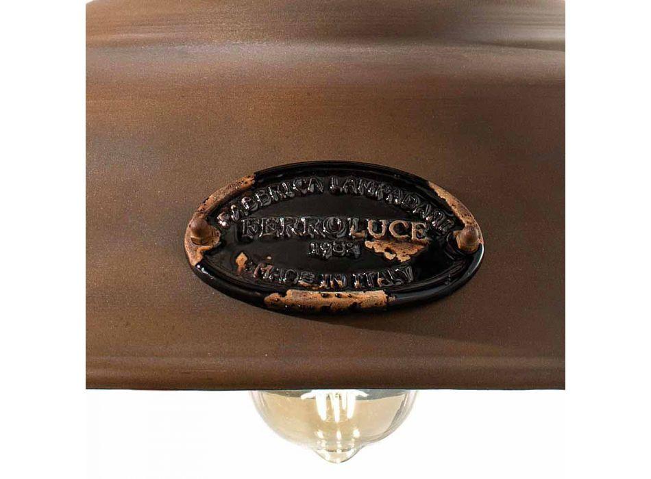 Lampada a sospensione in ferro corten e ceramica Lois Ferroluce