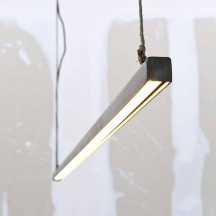 Lampada a Sospensione in Ferro e Corda con LED Integrato Made in Italy - Stecca
