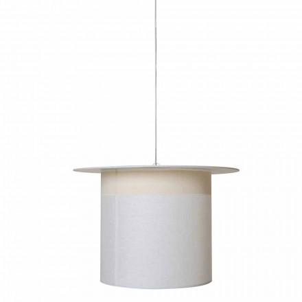Lampada a Sospensione in Lino Bianco Design a Cilindro, Made in Italy - Magia