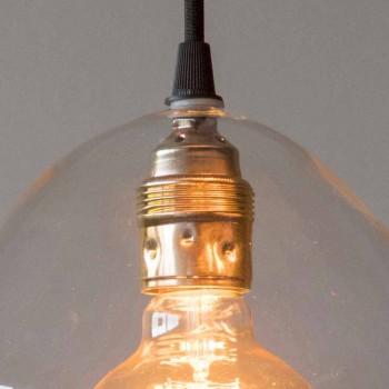 Lampada a Sospensione in Vetro e Ferro con Cavo in Cotone Made in Italy - Bisma