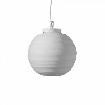 Lampada a Sospensione in Vetro Satinato Bianco in 2 Dimensioni di Design - Morse