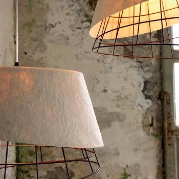 Lampada a Sospensione in Vetroresina Bianco e Metallo Design Elegante - Solare