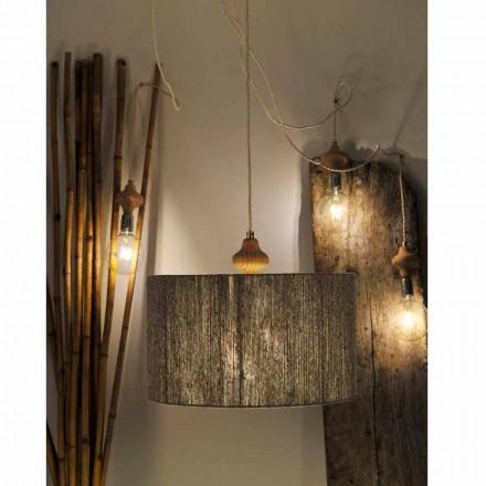 Lampada a sospensione moderna a 4 luci con parte in legno Bois