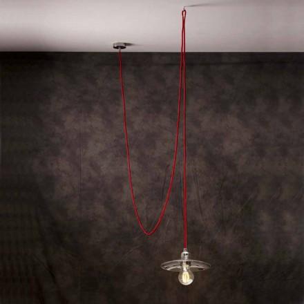Lampada a sospensione moderna con cavo in seta rosso Chrome