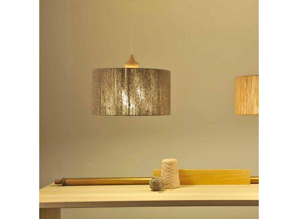 Lampada a sospensione moderna con elemento in legno Bois