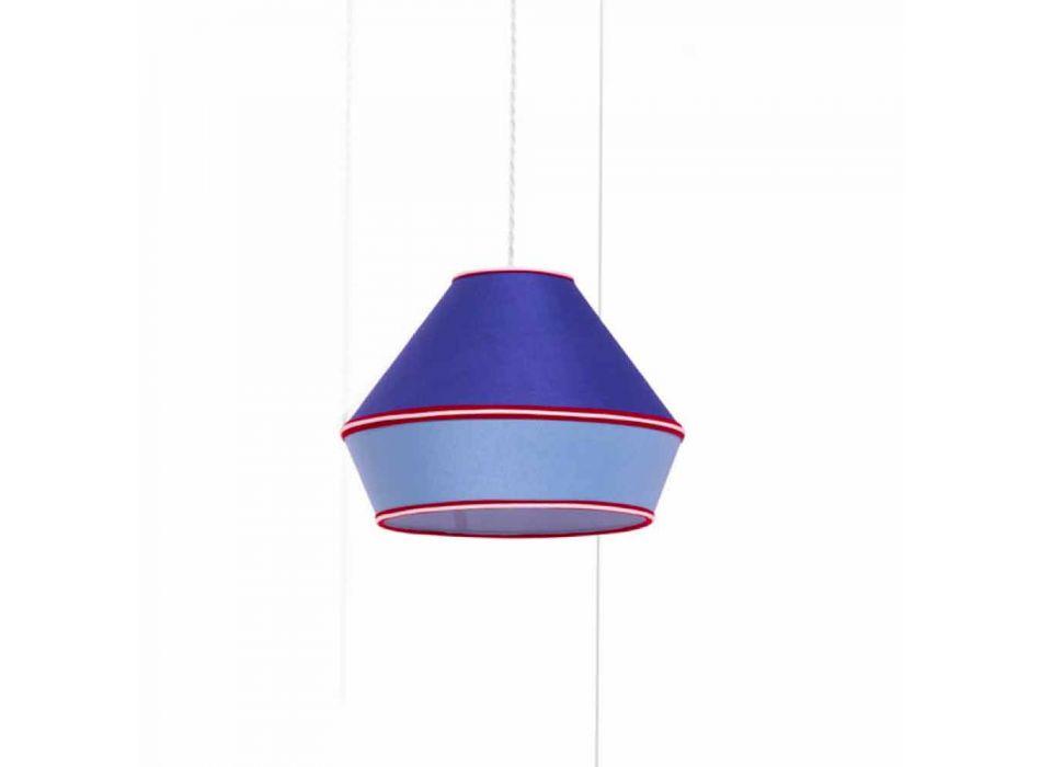 Lampada a Sospensione Moderna con Paralume in Cotone Blu Made in Italy - Soya