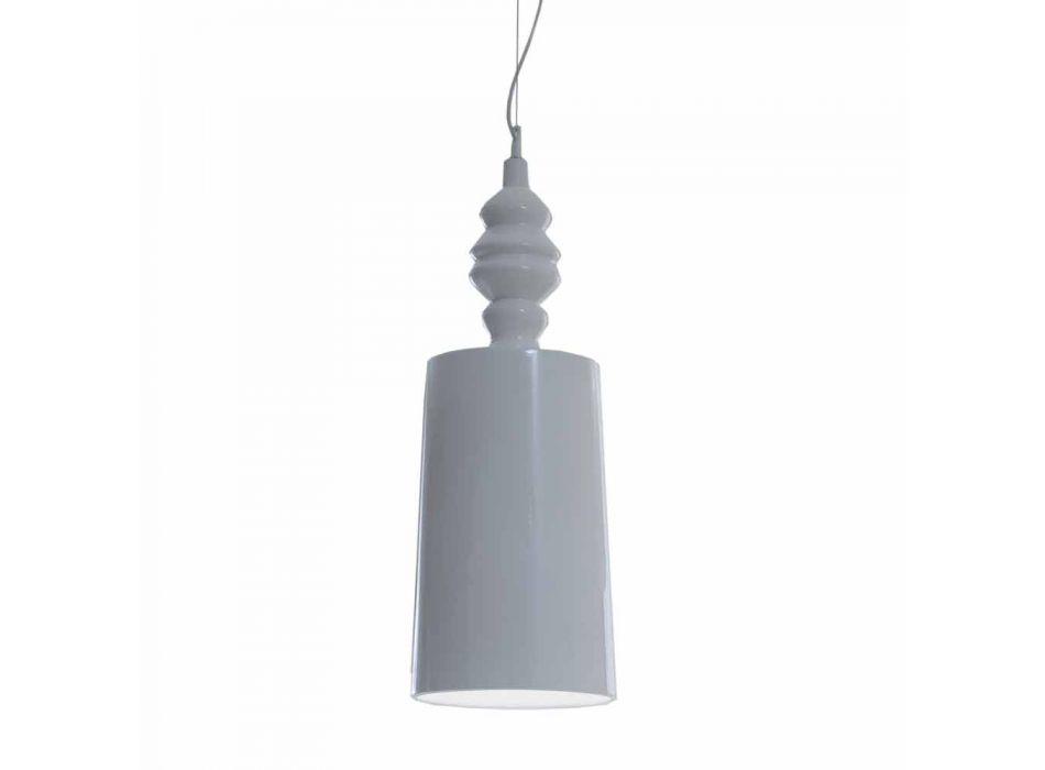 Lampada a Sospensione Paralume in Ceramica Bianco Lucido di Design - Cadabra