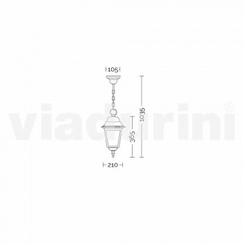 Lampada a sospensione per esterno in alluminio made in Italy, Aquilina