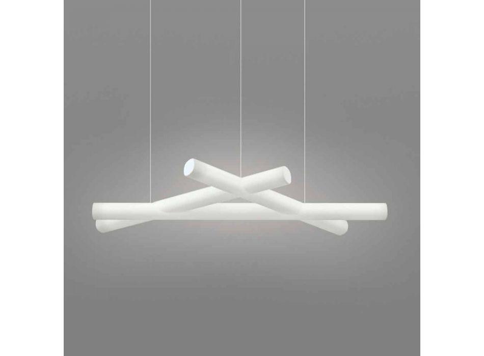 Lampada a sospensione polietilene Slide Mesh bianca prodotta in Italia