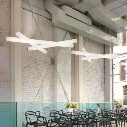 Lampada a sospensione bianca in polietilene Slide Mesh, made in Italy