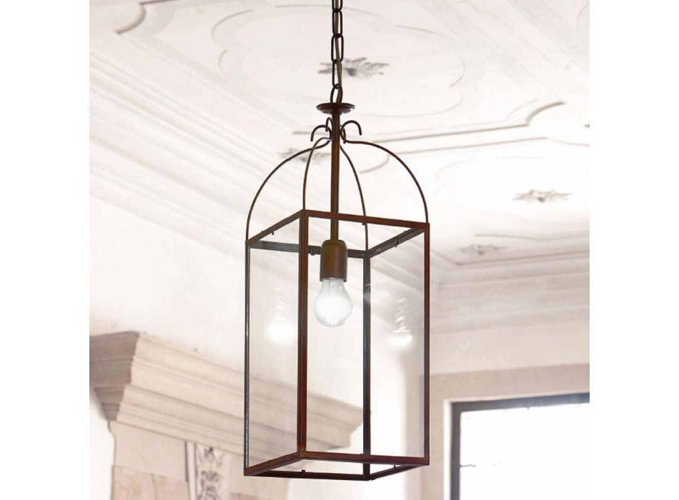 Lampada a sospensione quadrata a 1 luce in ottone e vetro Aida