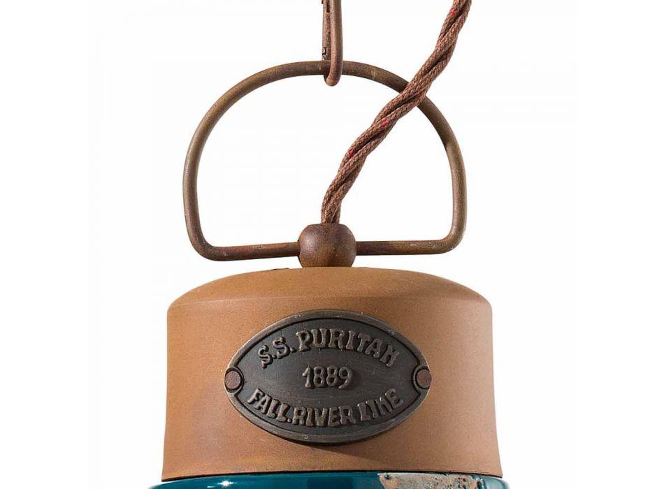 Lampada a sospensione stile industriale ceramica e ferro Stephanie