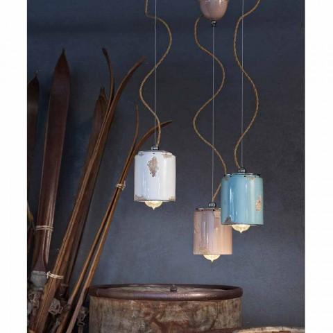 Lampada a sospensione vintage artigianale Ferroluce