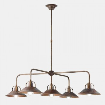 Lampada a Sospensione Vintage Design a 5 Luci in Ottone - Cascina by Il Fanale