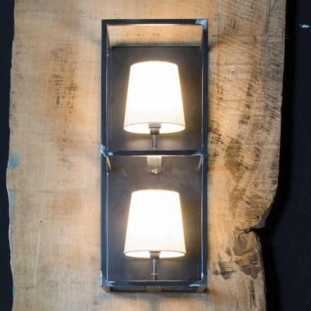 Lampada Artigianale da Parete in Ferro Nero con 2 Paralumi Made in Italy - Tower