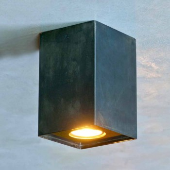Lampada Cubica in Ferro Nero con Saldature Smerigliate Made in Italy - Cubino