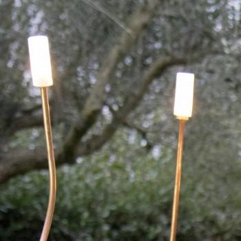Lampada da Esterno in Rame Naturale con Vetro Decorativo Made in Italy - Fusillo