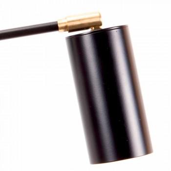 Lampada da Parete Artigianale Nera con Dettagli in Ottone Made in Italy - Master