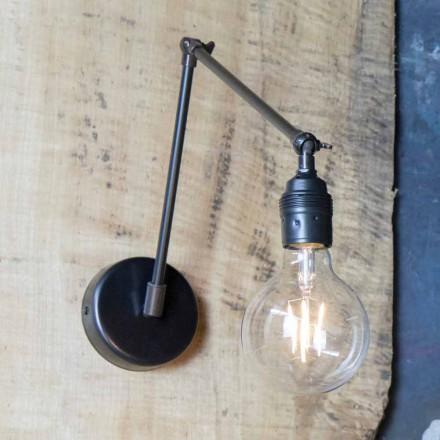 Lampada da Parete Fatta a Mano in Ferro Nero Orientabile Made in Italy - Ander