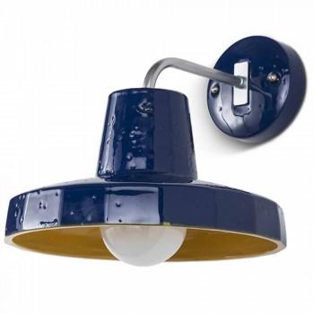 Lampada da parete moderna, in maiolica toscana e ottone, Rossi Toscot