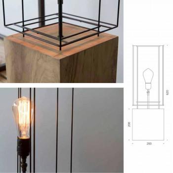 Lampada da Tavolo Artigianale in Ferro con Base in Legno Made in Italy - Ulivo