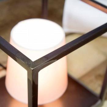 Lampada da Tavolo Artigianale in Ferro con Paralume Made in Italy - Cubola