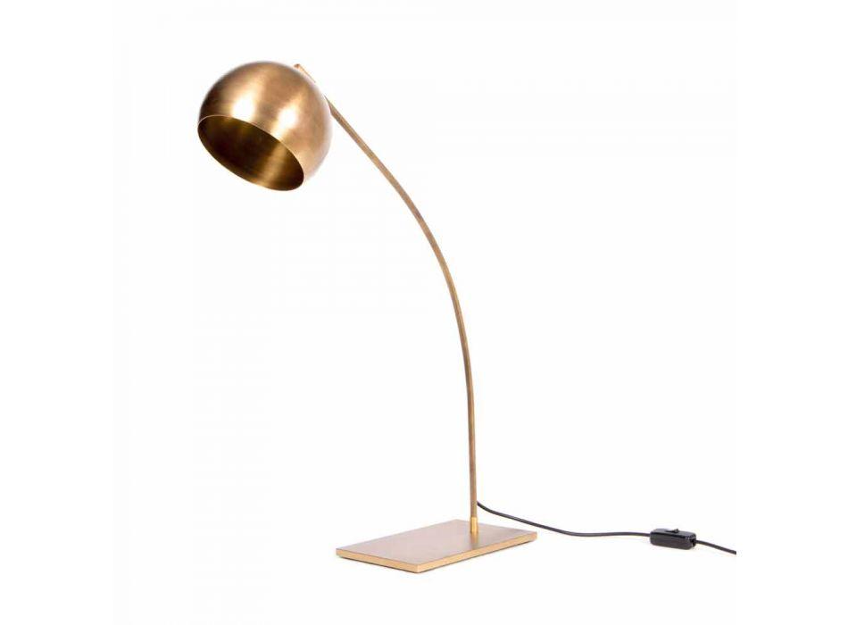 Lampada da Tavolo Artigianale in Ferro e Ottone Brunito Made in Italy - Brina