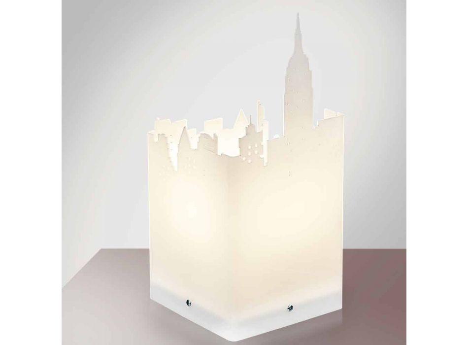 Lampada da tavolo bianco design moderno Arena, made in Italy