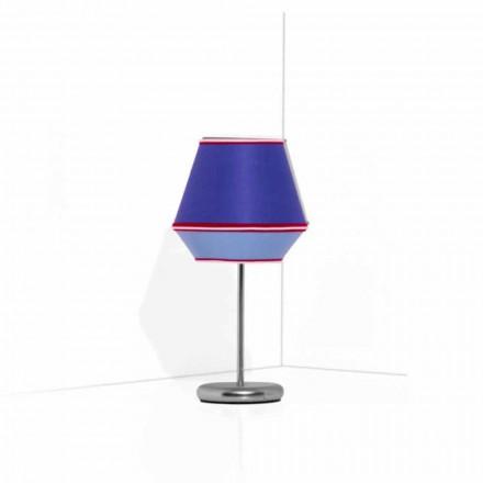 Lampada da Tavolo Blu con Struttura in Metallo Cromato Made in Italy - Soya