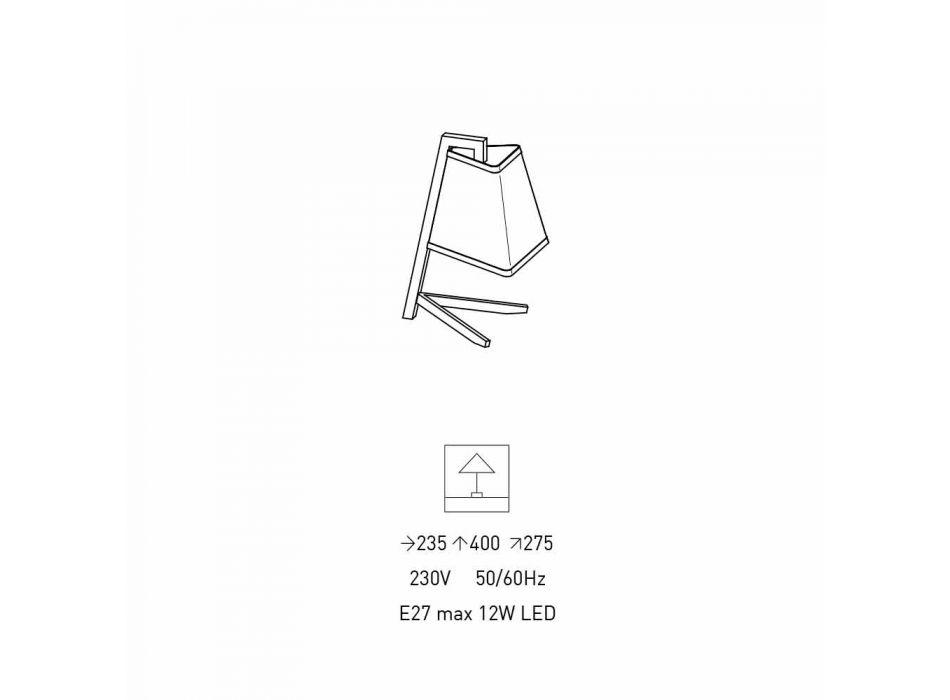 Lampada da Tavolo con Struttura in Metallo e Tessuto Made in Italy - Barton