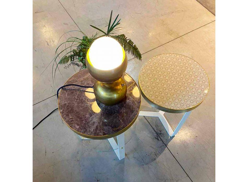 Lampada da Tavolo Design Fatta a Mano in Ottone e Vetro Made in Italy - Gandia