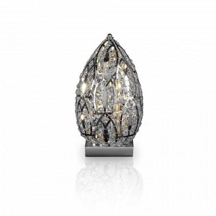 Lampada da tavolo design in cristallo e acciaio forma di uovo Egg