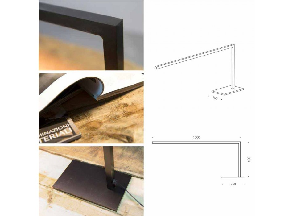 Lampada da Tavolo di Design in Ferro Verniciato Nero Opaco Made in Italy - Linea
