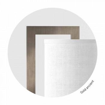 Lampada da Tavolo di Design in Metallo e Lino Bianco Made in Italy - Bali