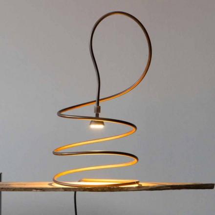 Lampada da Tavolo di Design in Rame Effetto Brunito Made in Italy - Fusillo