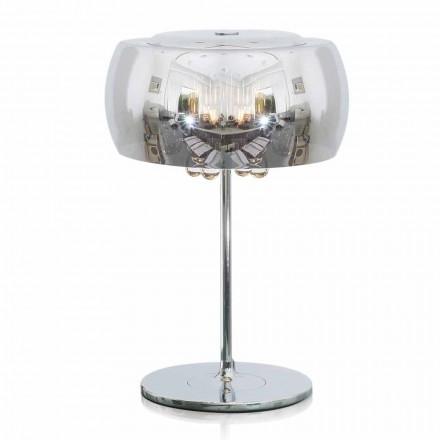 Lampada da Tavolo di Design in Vetro, Cristallo e Metallo Cromato – Cambria