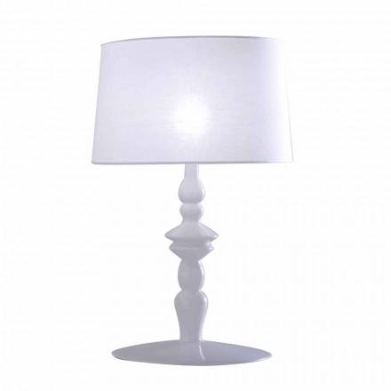 Lampada da Tavolo in Ceramica Bianca e Paralume in Lino 2 Dimensioni - Cadabra