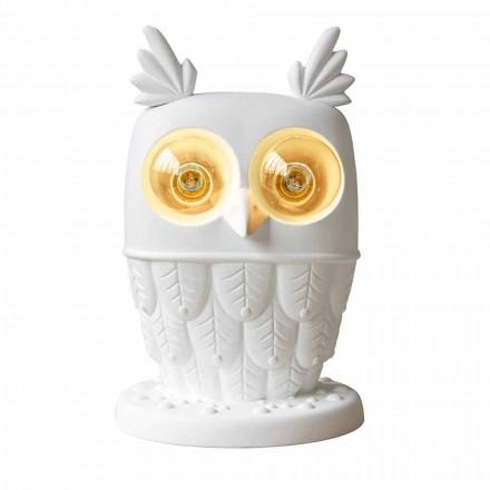 Lampada da Tavolo in Ceramica Bianca Opaca 2 Luci Design Moderno Civetta - Gufo