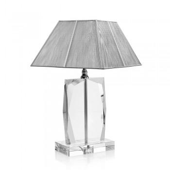 Lampada da Tavolo in Cristallo e Paralume Quadrato Argento di Lusso - Clezia
