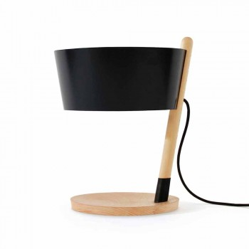 Lampada da Tavolo in Faggio con Dettagli in Metallo e Pelle Vegana - Avetta