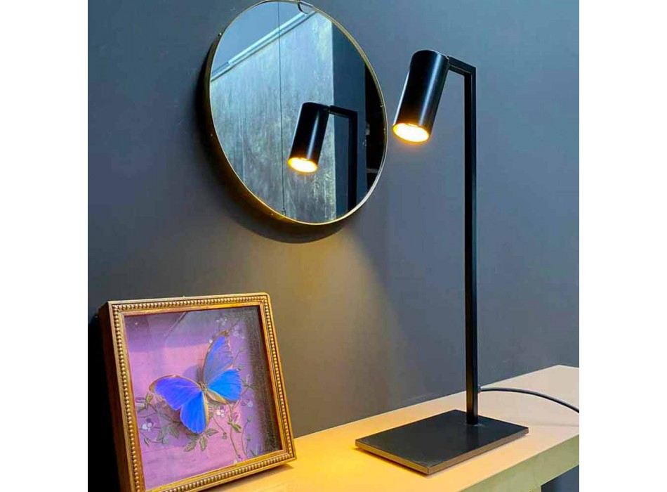 Lampada da Tavolo in Ferro e Alluminio Nero Opaco con LED Made in Italy - Agio
