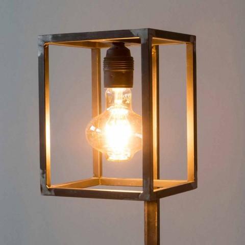 Lampada Artigianale Con Struttura In Ferro Nero Made In Italy